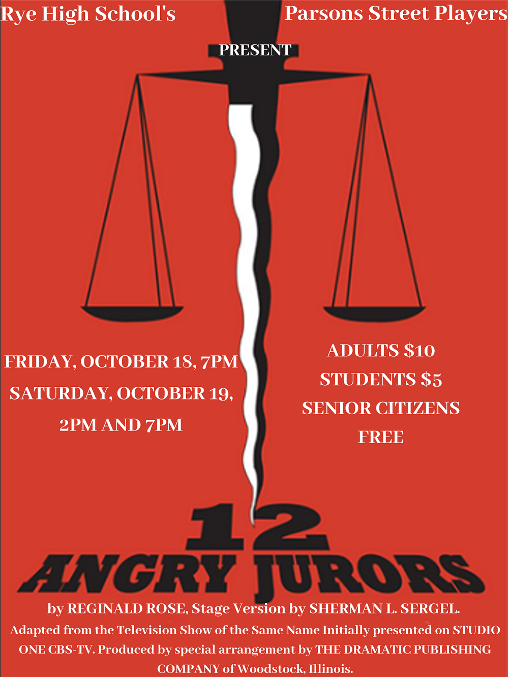 "The Rye High School Parsons Street Players Present ""12 Angry Jurors"""